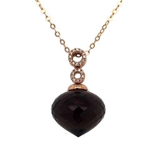 18k Rose Gold Smokey Quartz Pendant C8520 product image
