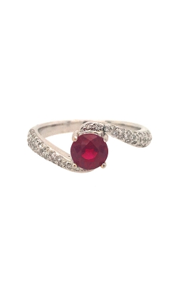 18k White Gold Ruby Ring With Side Diamonds G0737 product image