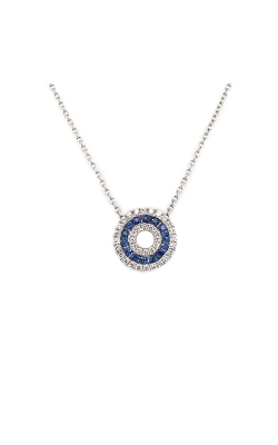 14k White Gold Sapphire Circle Necklace With Diamond Halo G10012 product image