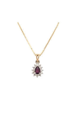 14k White And Yellow Gold Ruby Necklace With Diamond Halo G10025 product image