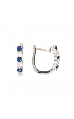 14k White Gold Sapphire And Diamond Hoop Earrings G10446 product image