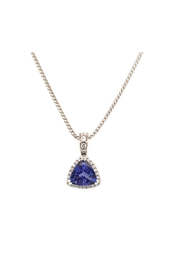 14k White Gold Tanzanite Necklace With Diamond Halo G10448 product image