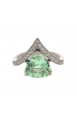 Platinum Green Tourmaline Ring With Side Diamonds G10461 product image