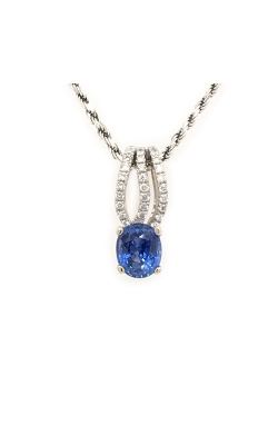18k White Gold Sapphire Pendant With Diamond Accents G11123 product image