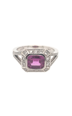 18k White Gold Pink Sapphire Ring With Halo And Side Diamonds G11144 product image