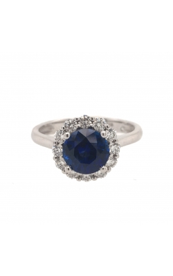 18k White Gold Sapphire Ring With Diamond Halo G11163 product image