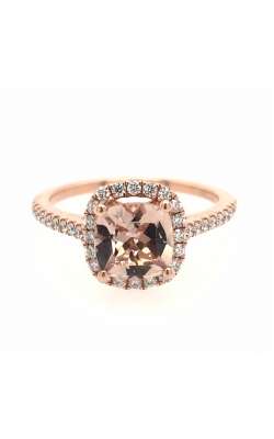 14k Rose Gold Morganite Ring With Halo And Side Diamonds G11372 product image