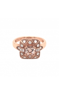 14k Rose Gold Morganite Ring With Halo Diamonds G11373 product image