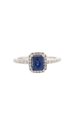 18k White Gold Sapphire Ring With Halo And Side Diamonds G11957 product image