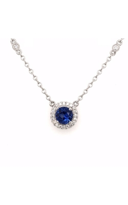 18k White Gold Blue Sapphire Necklace G12153 product image