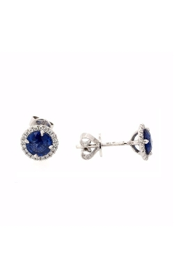 18k White Gold Sapphire Halo Earrings G12154 product image