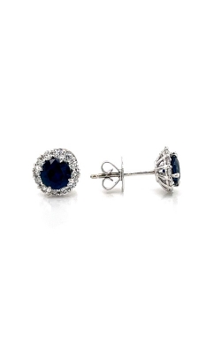 18k White Gold Sapphire Halo Earrings G12503 product image