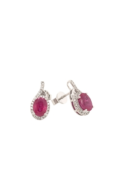 14k White Gold Ruby Dangle Earrings G1936 product image