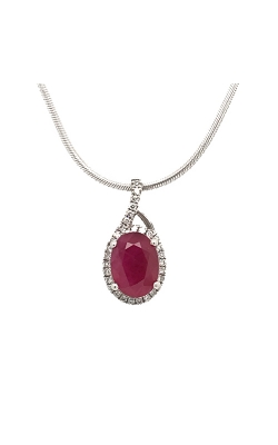 14k White Gold Ruby Pendant With Diamond Halo G1937 product image