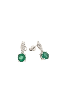 14k White Gold Emerald Dangle Earrings G1941 product image