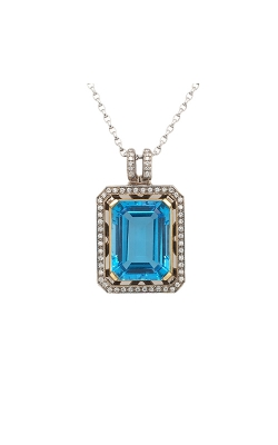 18k White And Yellow Gold Blue Topaz Pendant With Diamond Halo G4060 product image