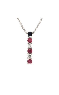 14k White Gold Ruby And Diamond Necklace G5210 product image