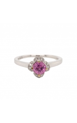 18k White Gold Pink Sapphire Flower Ring With Diamond Halo G6128 product image