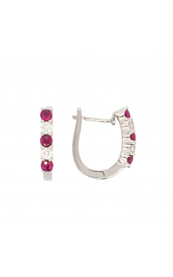 14k White Gold Ruby And Diamond Hoop Earrings G6142 product image