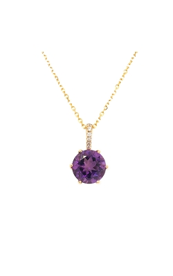 14k Yellow Gold Amethyst Pendant With Diamond Accents G6157 product image
