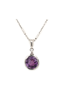 14k White Gold Amethyst Pendant With Diamond Accent G6166 product image