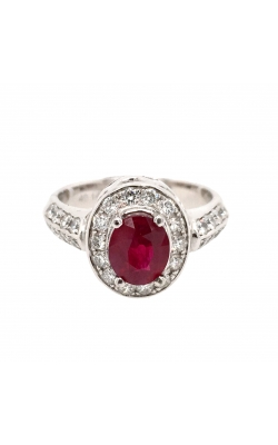 14k White Gold Ruby Ring With Halo And Side Diamonds G7710 product image