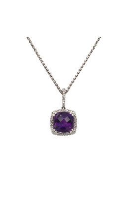 18k White Gold Amethyst Pendant With Diamond Halo G7722 product image