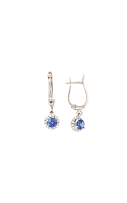 14k And 18k White Gold Sapphire Dangle Earrings With Diamond Halo G8945 product image