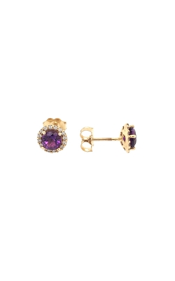 14k Yellow Gold Amethyst Stud Earrings With Diamond Halo G9674 product image