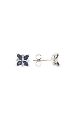 14k White Gold Sapphire Flower Stud Earrings product image