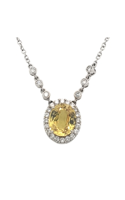 18k White Gold Yellow Sapphire Pendant With Diamond Halo C10006 product image