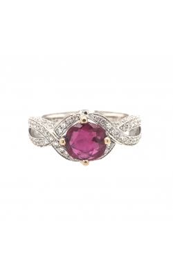 18k White Gold Ruby Ring With Halo And Side Diamonds C10397 product image