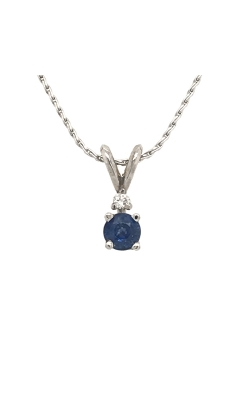 14k White Gold Sapphire Pendant With Diamond Accent C10440 product image
