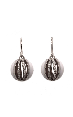 18k White Gold And White Agate Drop Earrings C4344 product image
