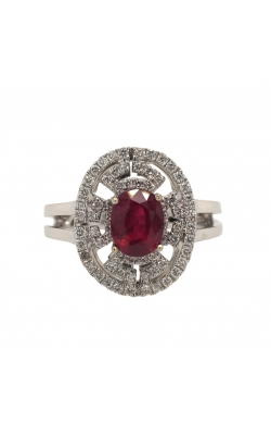 18k White Gold Ruby Ring With Diamond Halo C4670 product image