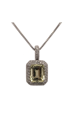 18k White Gold Lemon Quartz Necklace With Diamonds C5508 product image