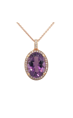 18k Rose Gold Amethyst Pendant With Diamond Halo C5796 product image