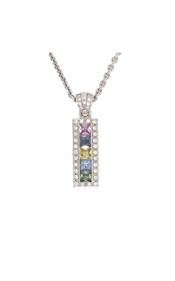 18k White Gold Multi-Coloured Sapphire Pendant With Diamond Accents G12073 product image