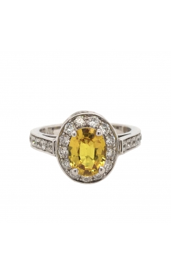 14k White Gold Yellow Sapphire Ring With Halo And Side Diamonds C6029 product image