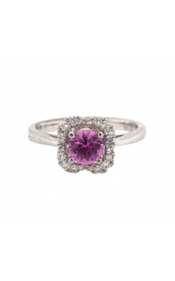 18k White Gold Pink Sapphire Flower Ring With Diamond Halo C6329 product image