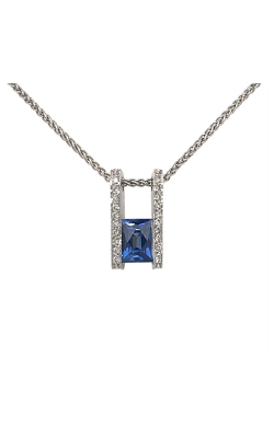 18k White Gold Sapphire Pendant With Diamond Accents C6612 product image