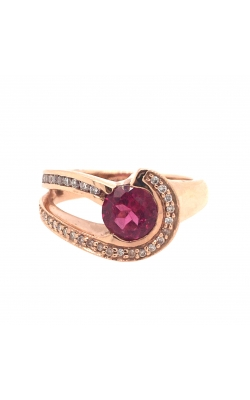 14k Rose Gold Half Split-Shank Pink Tourmaline Ring With Diamond Accents C6616 product image