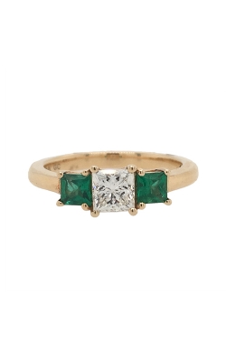 14k Yellow Gold Three-Stone Diamond Ring With Side Emeralds C6651 product image