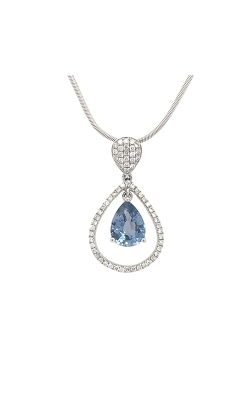 14k White Gold Sapphire Pendant With Diamond Accents C6875 product image