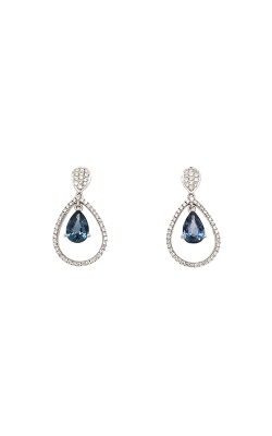 14k White Gold Sapphire Dangle Earrings G12043 product image