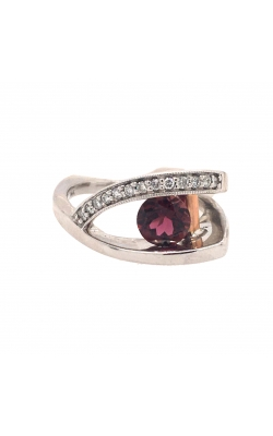 14k White Gold Pink Tourmaline Ring With Side Diamonds C7031 product image