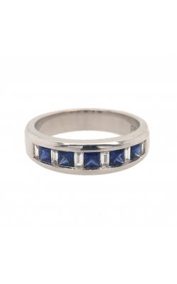 18k White Gold Sapphire And Diamonds Band C7937 product image