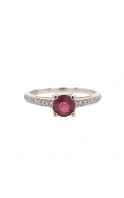 18k White Gold Ruby Ring With Side Diamonds C7943 product image