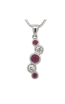 14k White Gold Ruby And Diamond Pendant C8360 product image