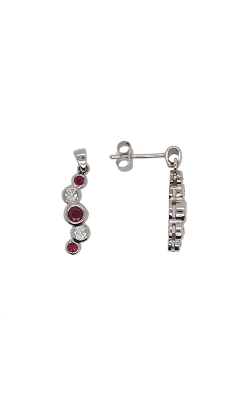 14k White Gold Ruby And Diamond Dangle Earrings C8362 product image